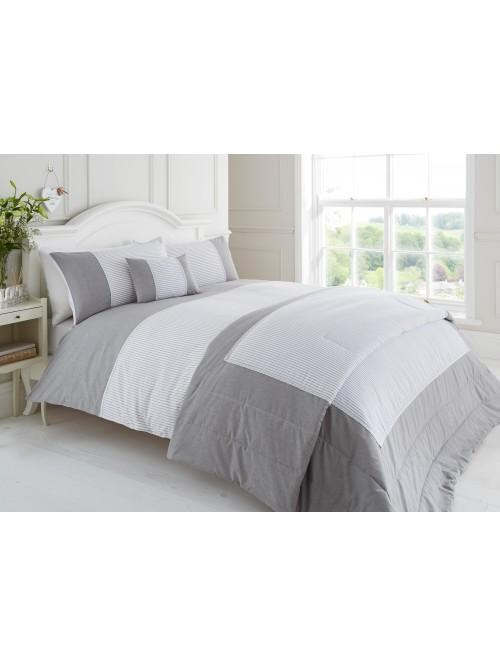 Seersucker & Chambray Lace Trim Bedding Collection Grey