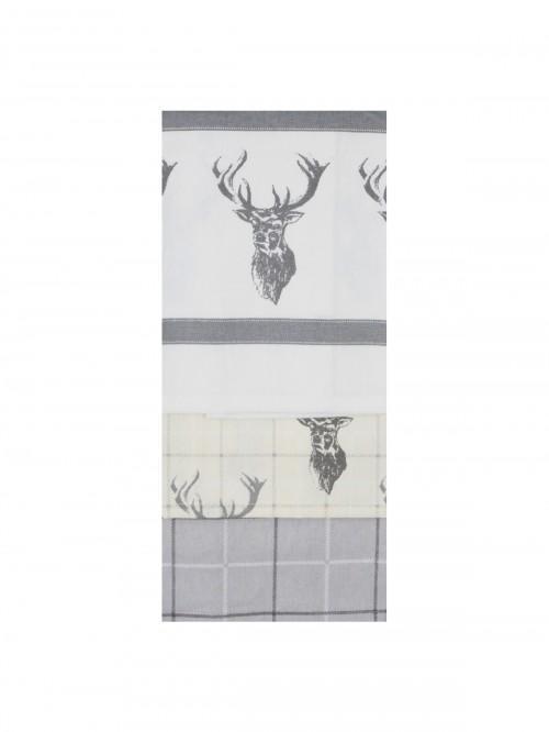 3 Pack Stag Tea Towels Natural