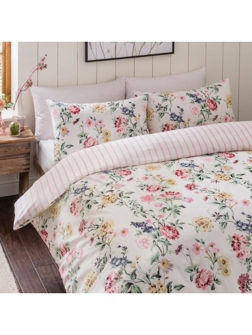 Summer Floral 100% Cotton Printed Duvet Set Pink