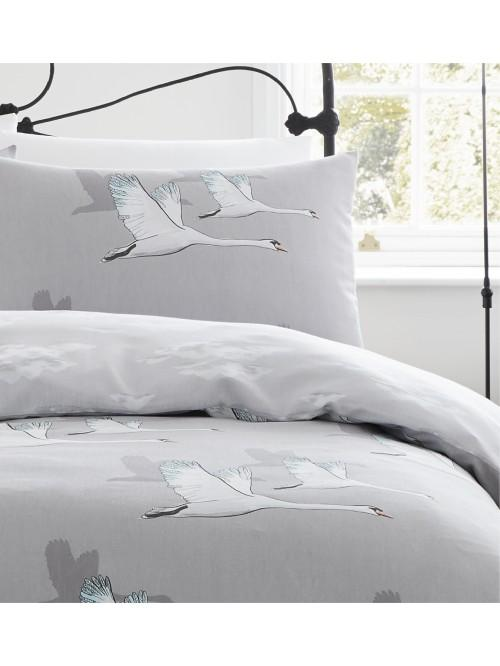 Catherine Lansfield Swan Duvet Set Grey