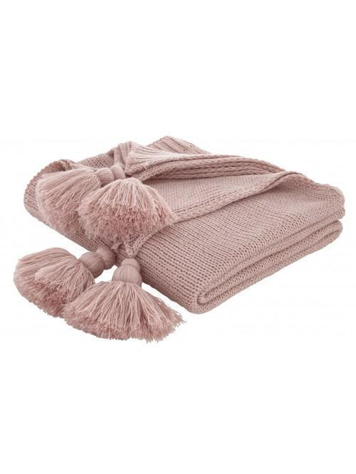 Bianca Tassle Knit Throw Blush