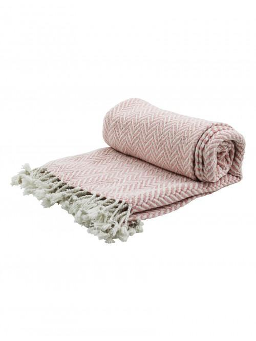 Herringbone Throw Pink