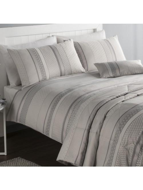 Varnava Stripe Jacquard Bedding Collection Grey