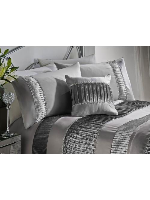 Velvet Diamante Pleat Bedding Collection Silver