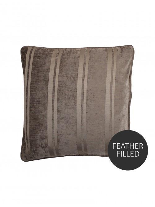Large Hotel Velvet Stripe Feather Filled Cushion Mink