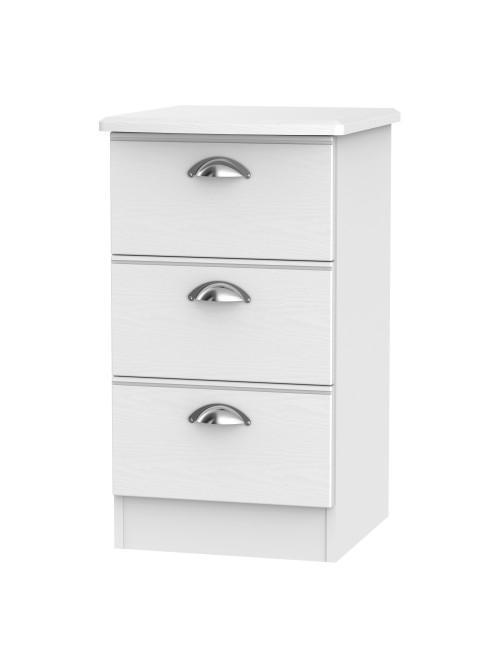 Lincoln 3 Drawer Bedside Cabinet White Ash