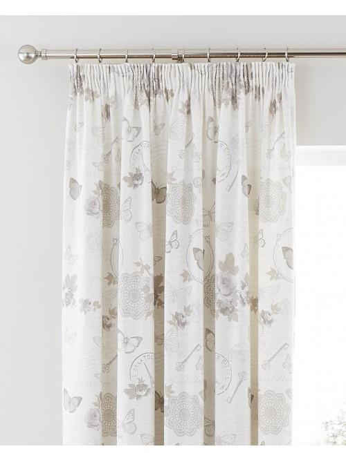 Victorian Diary Pencil Pleat Curtains Cream