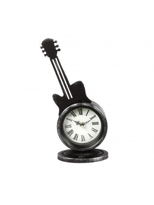 Metal Case Mantel Clock - Guitar