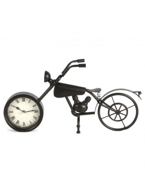 Metal Case Mantel Clock - Motorcycle
