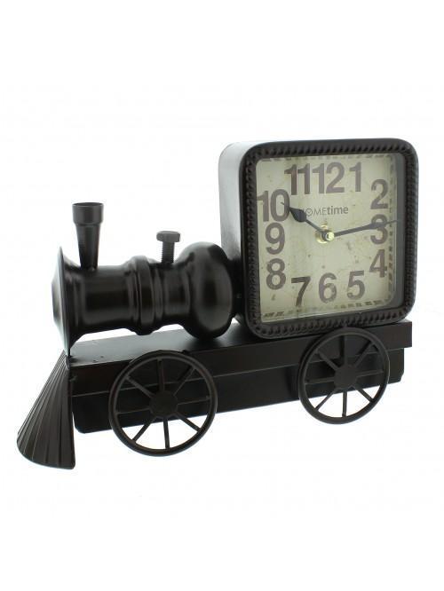 Hometime Metal Mantel Clock - Black Locamotive Arabic Dial