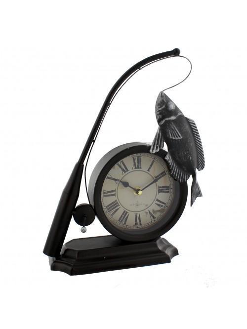 Hometime Metal Mantel Clock - Fishing Rod & Fish