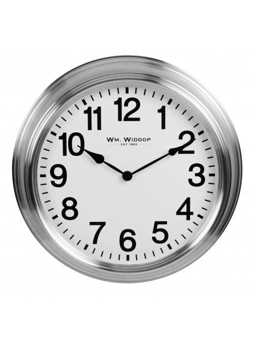 Widdop Deep Cased Metal Wall Clock Stainless Steel 40.5cm