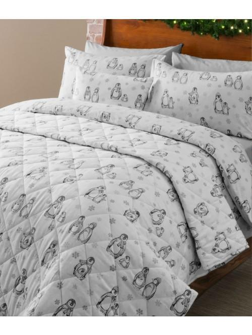 Winter Penguin Flannelette Bedding Collection White
