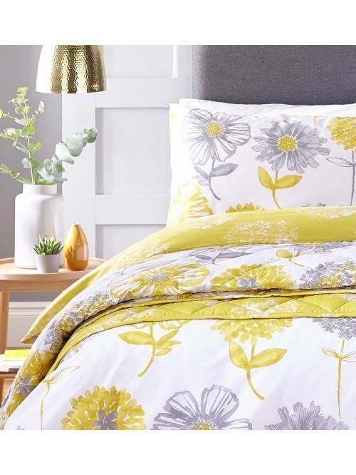 Catherine Lansfield Banbury Floral Bedding Collection Yellow