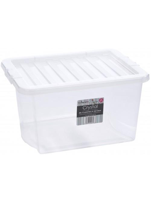 Wham® Crystal 30L Box & Lid x5 Clear