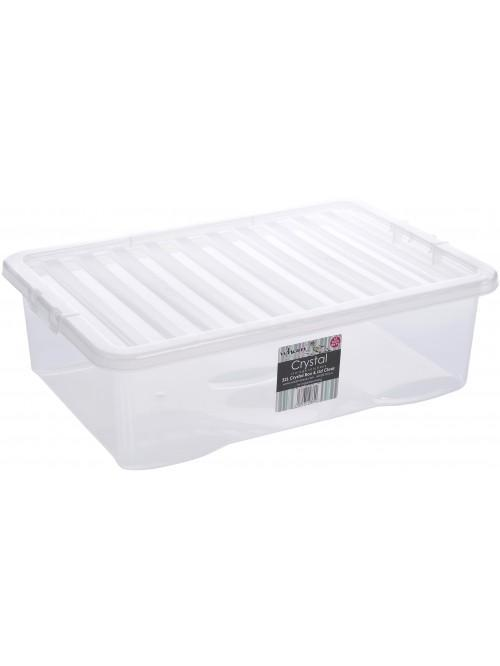 Wham® Crystal 32L U/bed Box & Lid x3 Clear