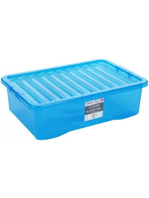 Wham® Crystal 32L U/bed Box & Lid x3 Blue