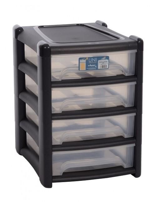 Wham® Shallow 4 Drawer Unit Black