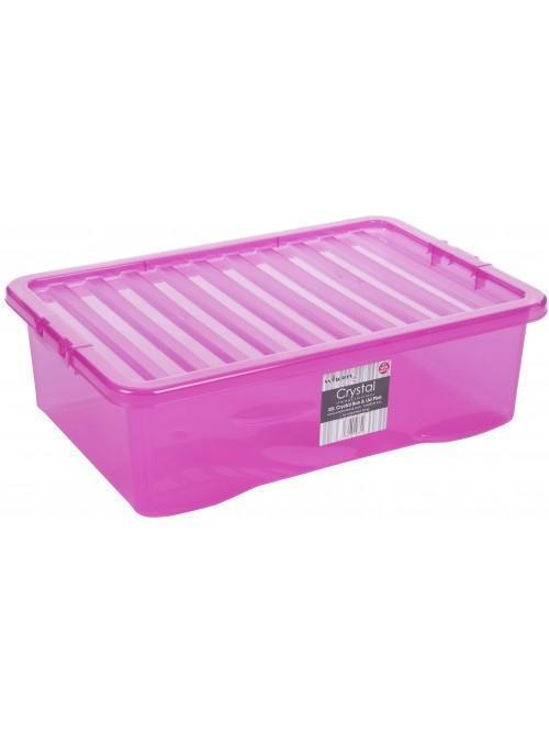 Wham® Crystal 32L U/bed Box & Lid x3 Pink