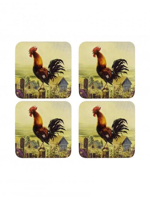 Ponden Home Pack Of 4 Chicken Cork Back Coasters Cream