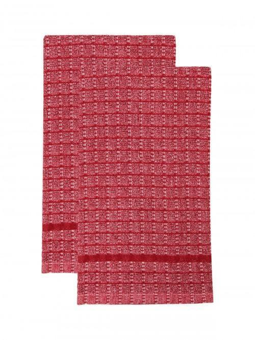 2 Pack Chambray Tea Towels Red
