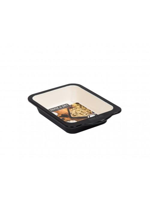 Baker & Salt 22cm Baking Dish Enamel Black & Cream