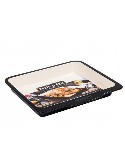 Baker & Salt 37cm Baking Dish Enamel Black & Cream
