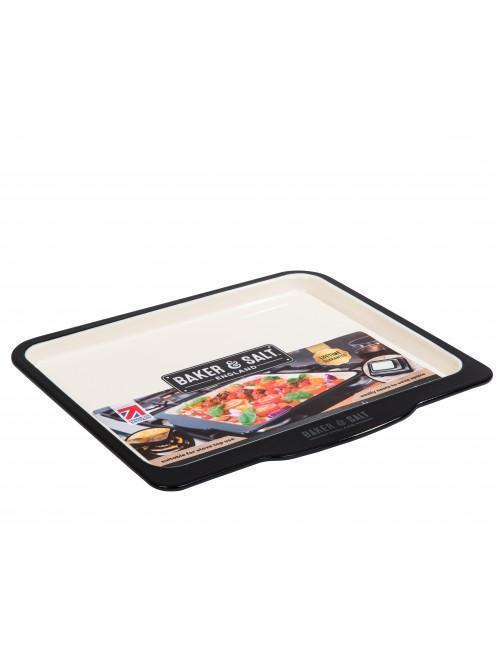 Baker & Salt 37cm Baking Tray Enamel Black & Cream