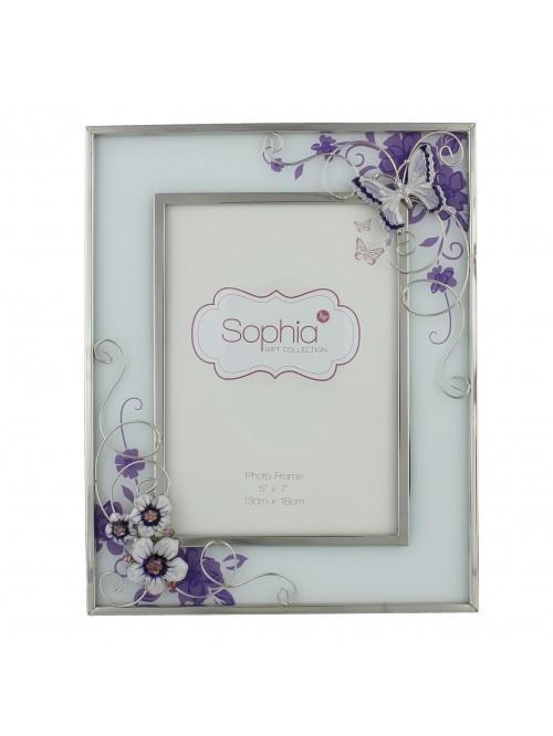 Glass Photo Frame Purple Butterfly 5 x 7