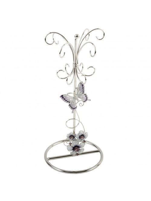 Glass Jewellery Holder Purple Butterfly