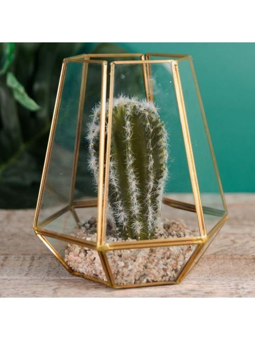 Home Living Gold & Glass Pentagonal Succulent Planter