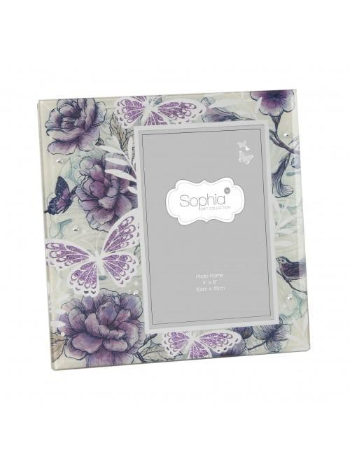 Sophia Lilac Butterfly Glass Photo Frame