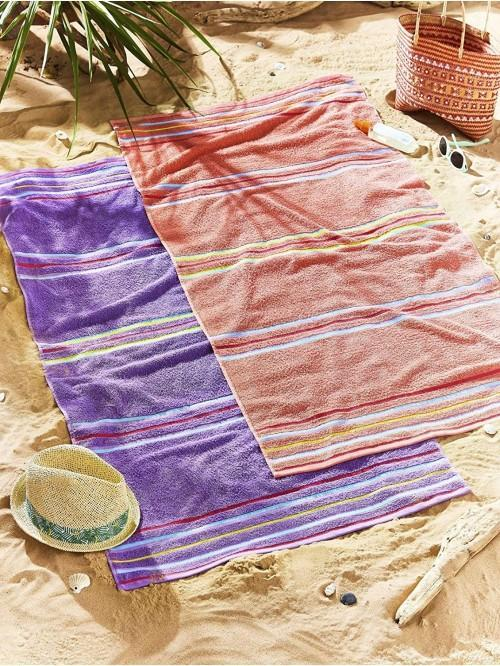 Catherine Lansfield Rainbow Pair Beach Towels Coral