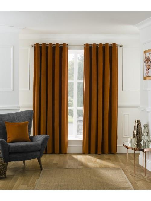 Allure Matt Velvet Eyelet Curtains Orange