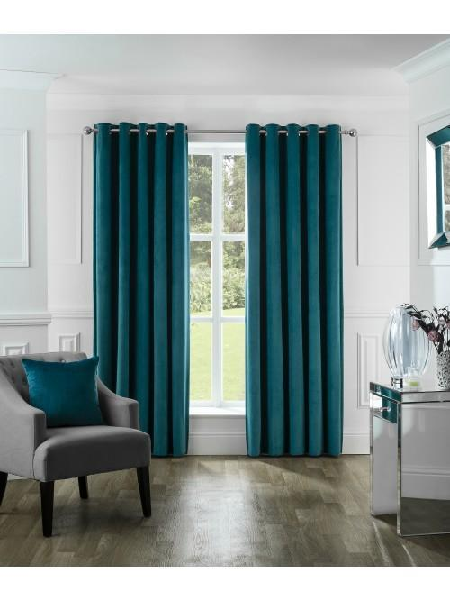 Allure Matt Velvet Eyelet Curtains Teal