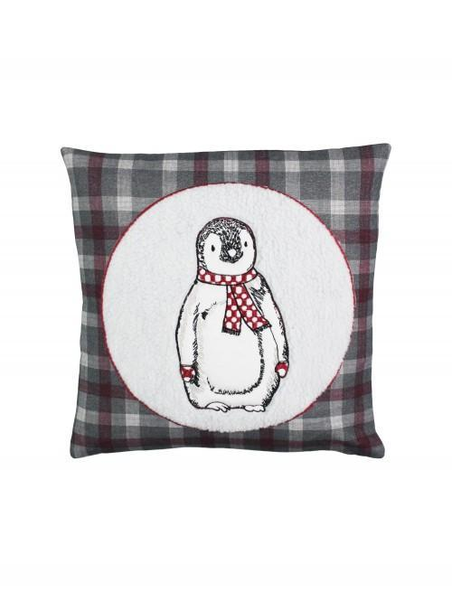 Arctic Penguin Cushion Grey
