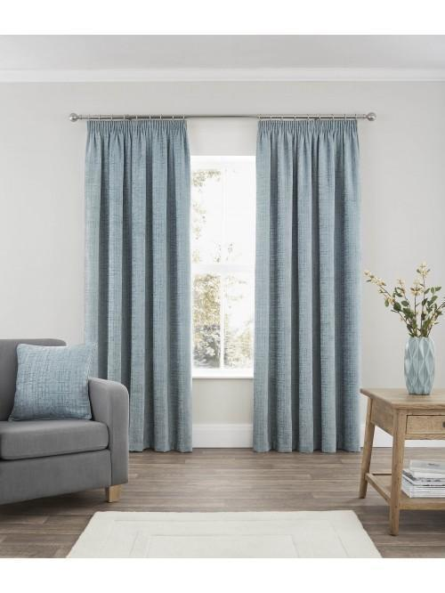 Ascot Chenille Pencil Pleat Curtains Duck Egg