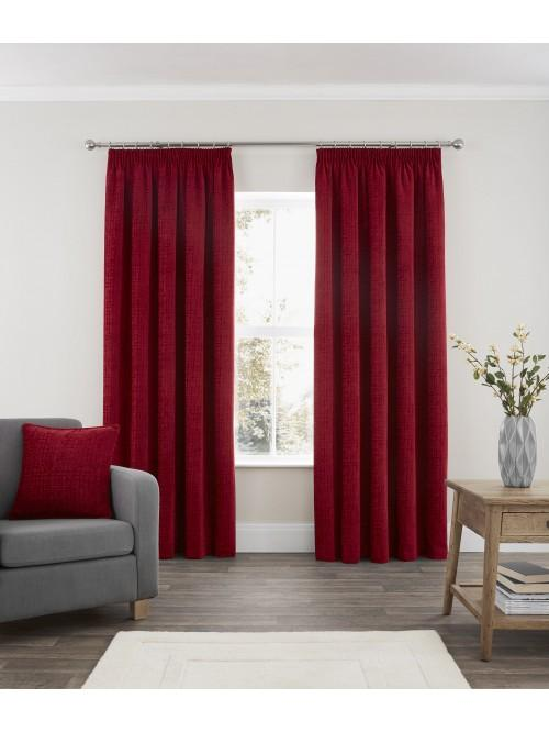 Ascot Chenille Pencil Pleat Curtains Red