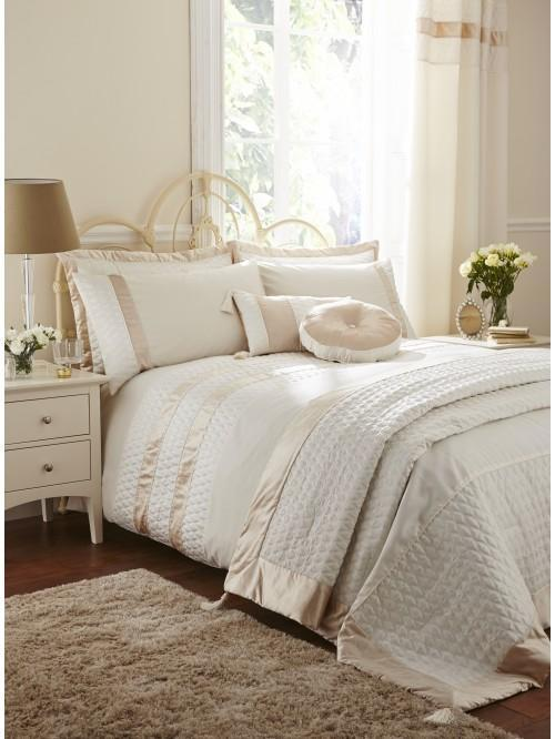 Aston Quilted Panel Duvet Set Cream