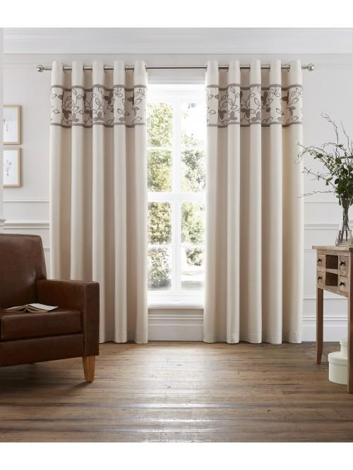 Autumnal Leaf Eyelet Curtains Natural