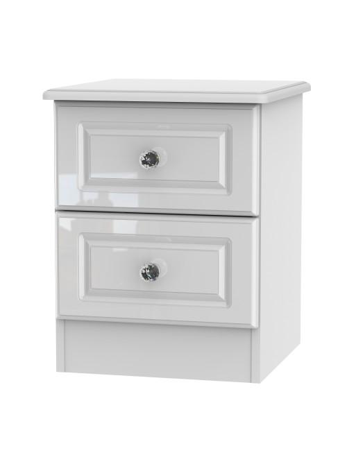 Apollo 2 Drawer Bedside Cabinet White Gloss