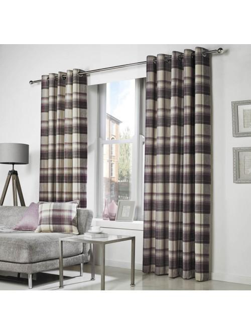 Curtina Belevedere Check Eyelet Curtains Plum