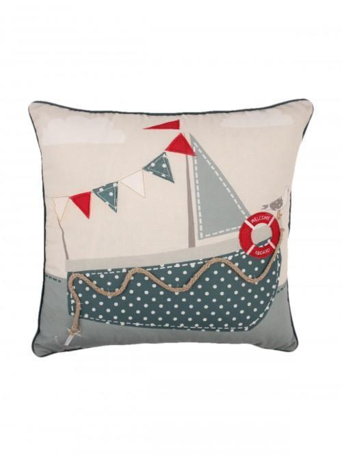 Boat Applique Cushion Duck Egg