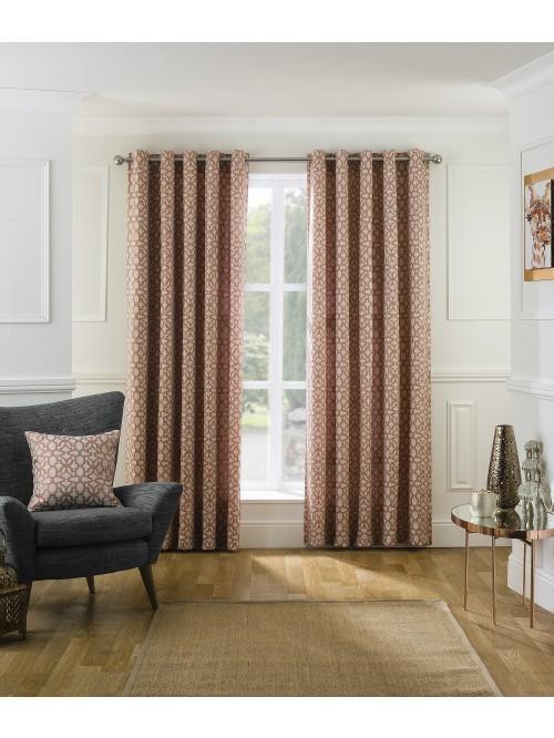 Bohemia Jacquard Eyelet Curtains Orange