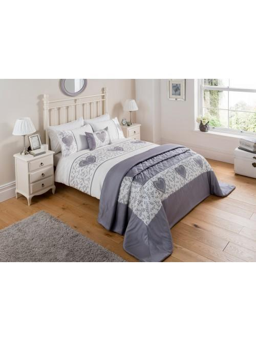 Botanical Heart Panel Bedding Collection Silver