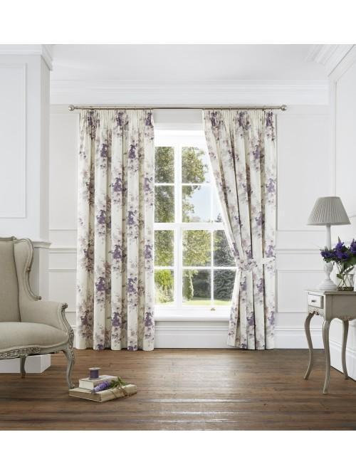 Bouquet Pencil Pleat Curtains Heather