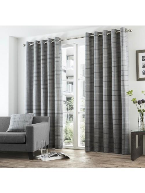 Curtina Braemar Check Eyelet Curtains Charcoal