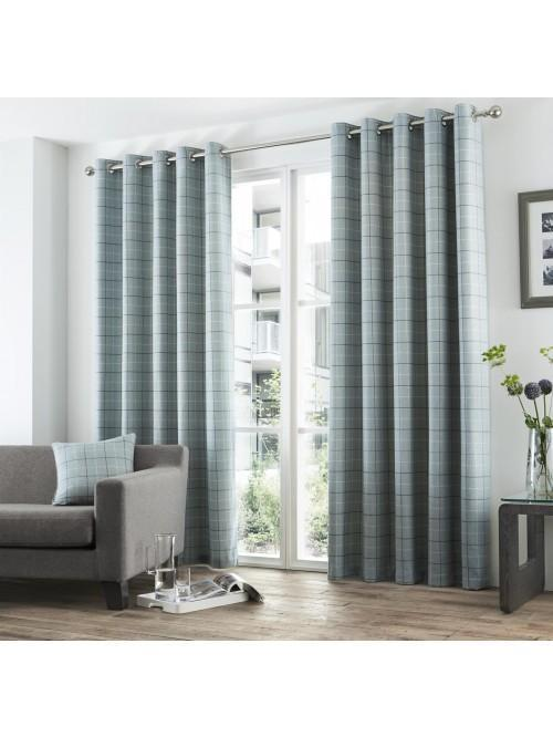 Curtina Braemar Check Eyelet Curtains Duck Egg