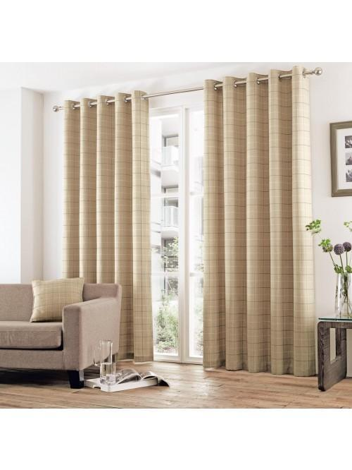 Curtina Braemar Check Eyelet Curtains Natural