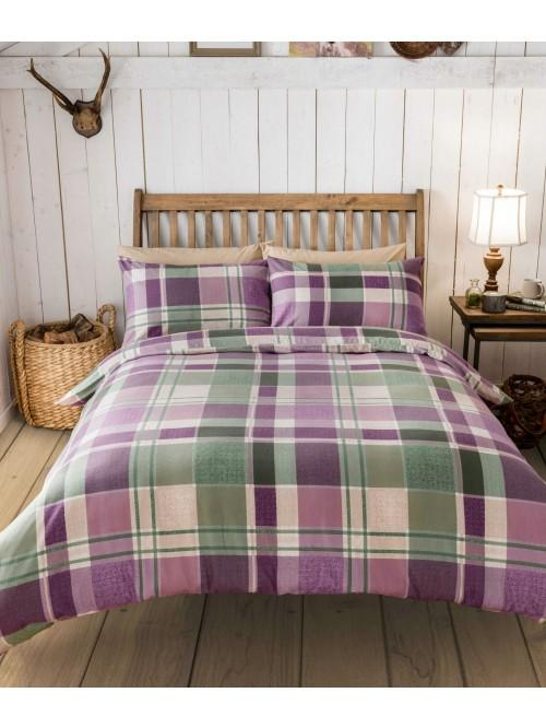 Bramble Check Flannelette Duvet Set Plum